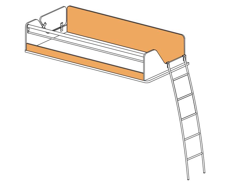"""""""СИЛУЭТ"""" Кровать верхняя с лестницей (SoftForm)"""