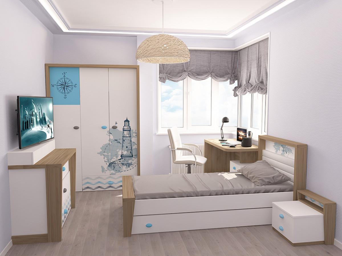 """""""MIX OCEAN"""" Кровать №4 (ABC KING). Голубой"""