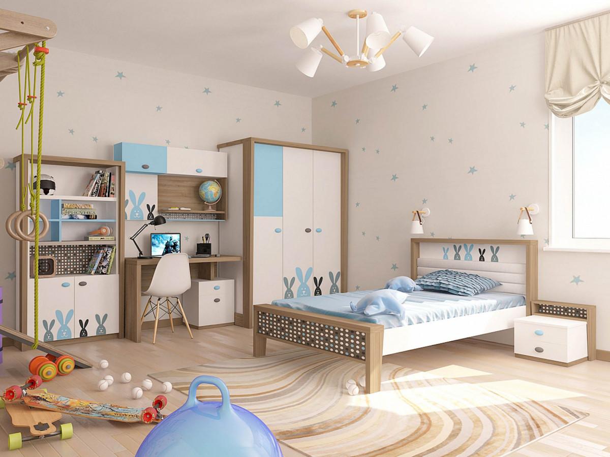 """""""MIX BUNNY"""" Кровать №1 (ABC KING). Голубая"""