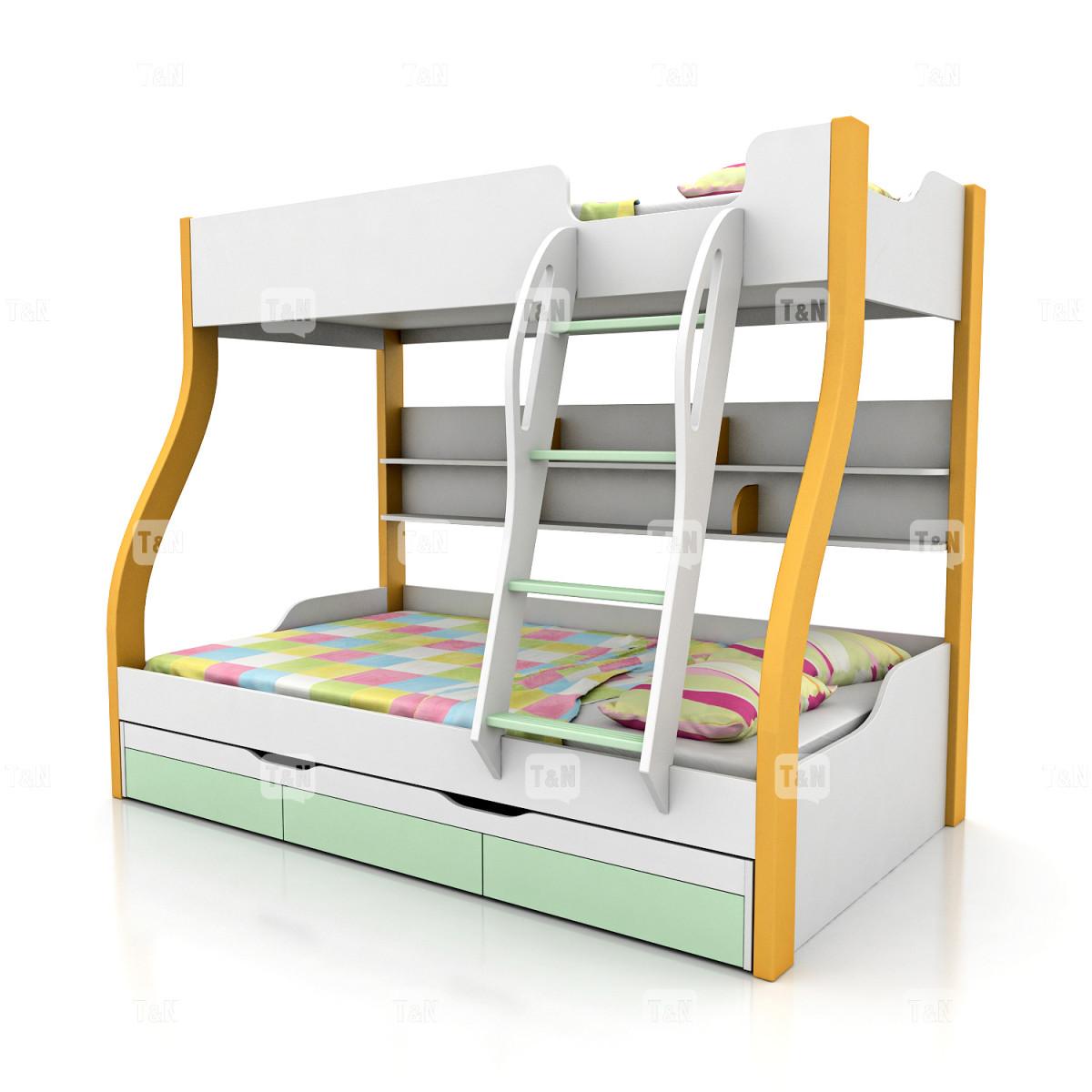 Кровать двухъярусная  (Фабрика TOMY NIKI ) 90/120 см. (3 места)