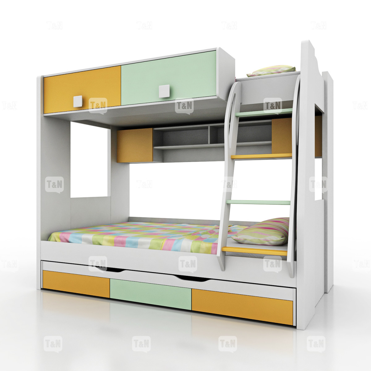 Кровать двухъярусная (Фабрика TOMY NIKI ) 90х120 см. (3 места)